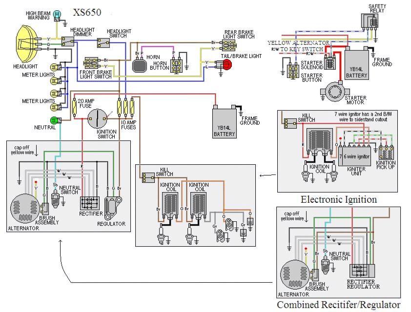 Simple Wiring Using Stock Switches and Lights   Yamaha XS650 ForumYamaha XS650 Forum