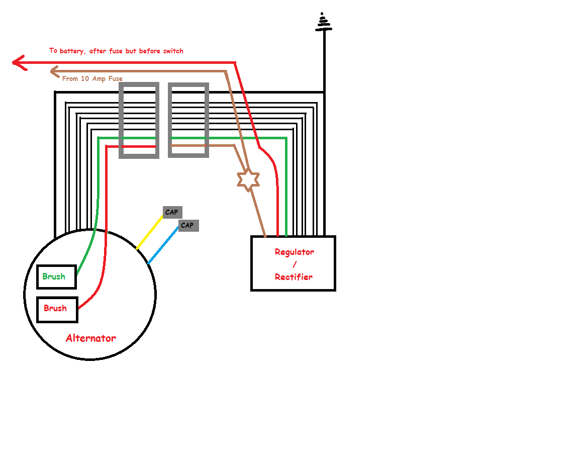 6 Wire Rectifier Wiring Diagram 31 Images Yamaha Regulator Enlarged View Of Alternator