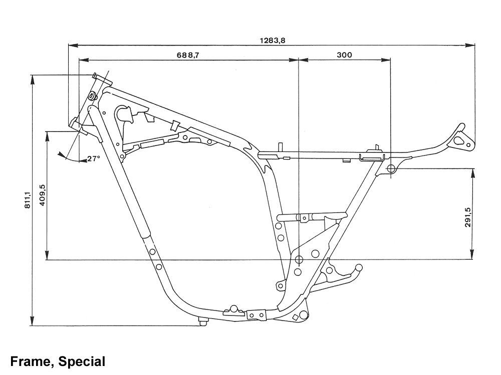 xs650 bobber frame dimensions