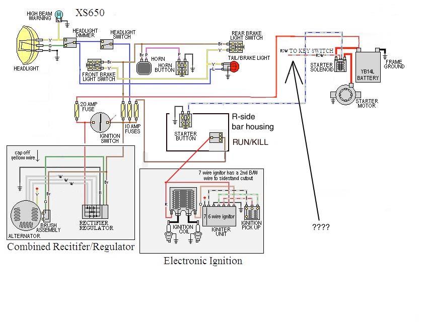 wiring for chopper using stock throttle housing | yamaha ... yamaha xs650 bobber wiring wire diagram yamaha xs1100 bobber